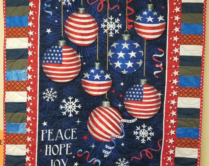 "Patriotic Christmas Homemade Quilt, Beautiful, Handmade USA Quilt, 37"" x 47"""