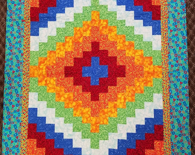 "Quick Trip Quilt, Beautiful, Colorful Quilt, 41"" x 51"""