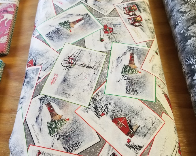 Countrytime Christmas Quilt Fabric, Christmas Card Wintertime Fabric