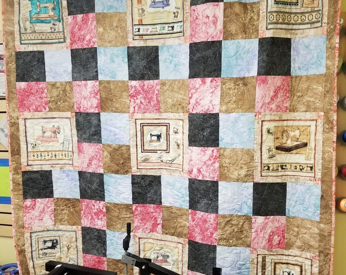 "Vintage Sewing Machine Quilt, Antique Machine Quilt, 67"" x 67"""
