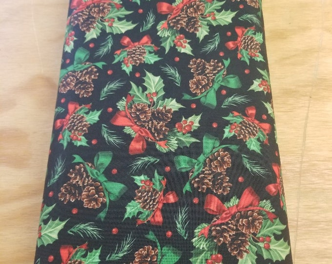 Christmas Holly Quilt Fabric, Wreath, Wintertime Fabric