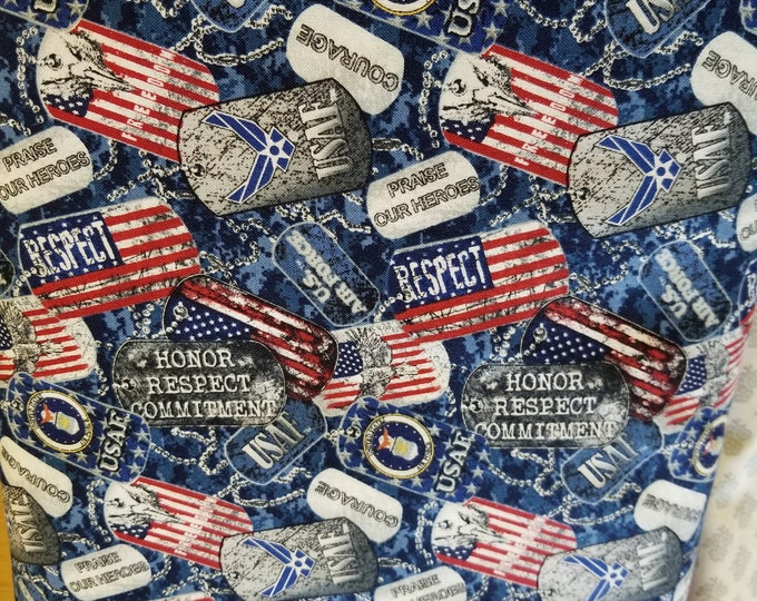 US Air Force Quilt Fabric, USAF Dog Tag fabric, Armed Forces, American Military