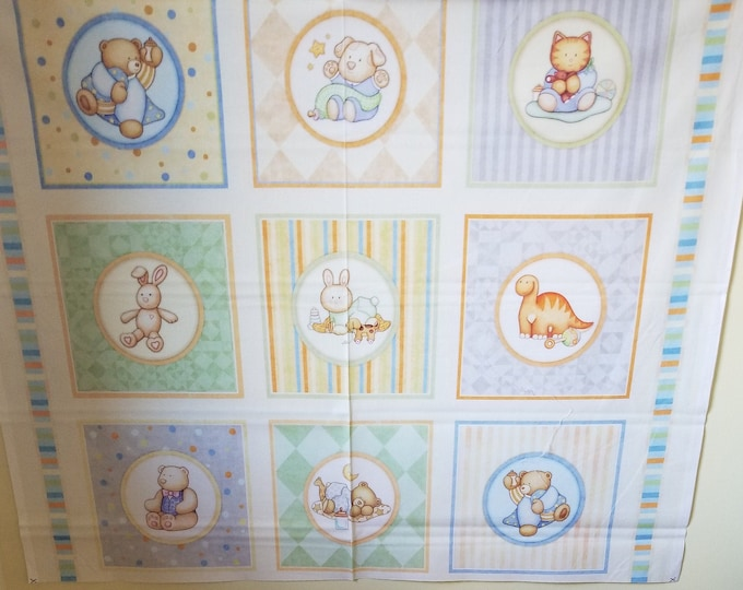 Baby Toy Quilt Panel, Children's Toys Fabric Panel