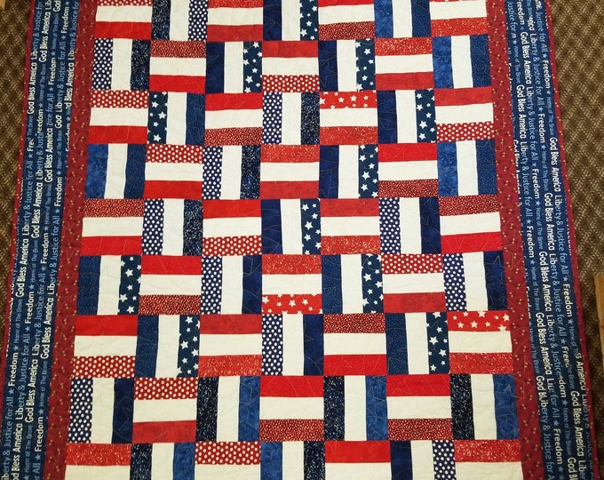 "Freedom Ribbons Homemade Quilt, Beautiful Handmade USA Patriotic Quilt, 54"" x 69"""