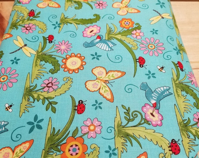 Meadow Friends Quilt Fabric, Hummingbird and Butterfly Fabric
