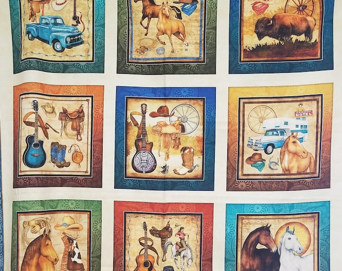 Cowboy Quilt Panel, Cowboy Themed Fabric Panel