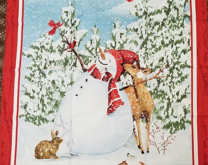 Christmas Snowman Panel, Quilt Panel, Snowman, Wintertime, Christmas Forest Scene