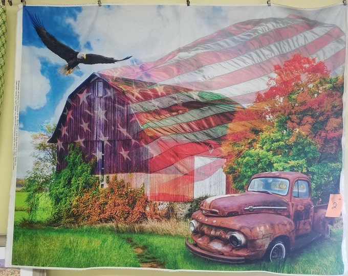 Antique Truck and American Flag Quilt Panel, Patriotic American Truck, Barn, and Flag Fabric Panel