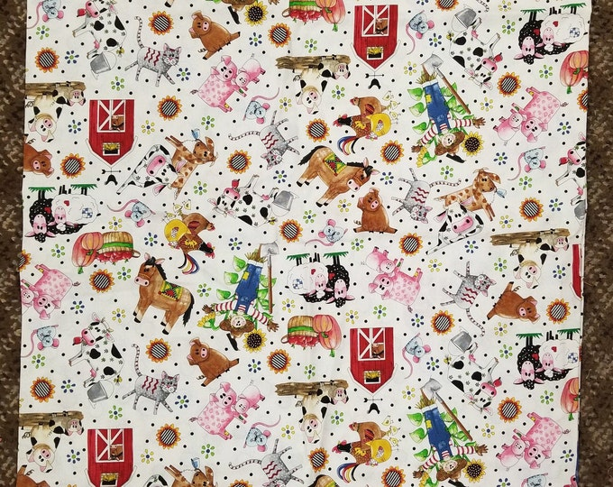 Playful Barnyard Animals Pillow Case, Farm Friends Fabric, Standard Pillow Case