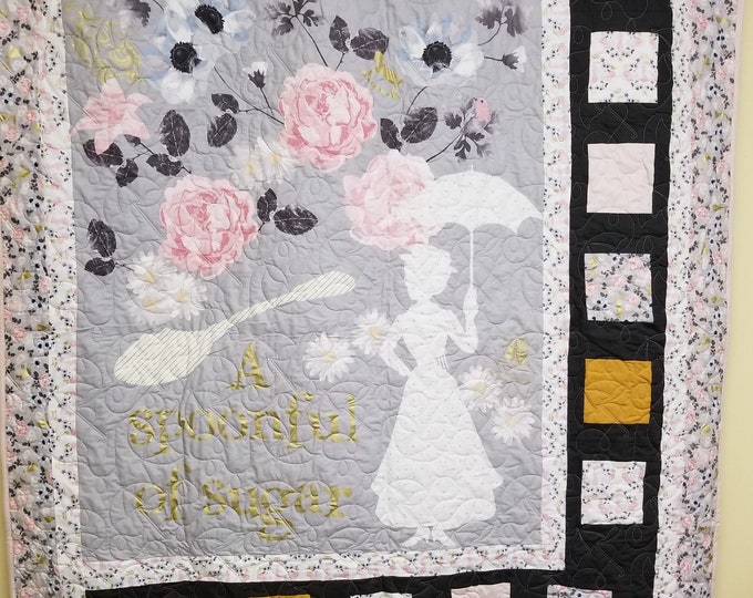 Handmade Mary Poppins Quilt, Homemade Beautiful Quilted Wall Hanging, Throw, or Lap Quilt