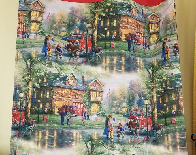 Thomas Kinkade Hometown Firehouse Pillow Case, Colorful Fabric, Standard Pillow Case