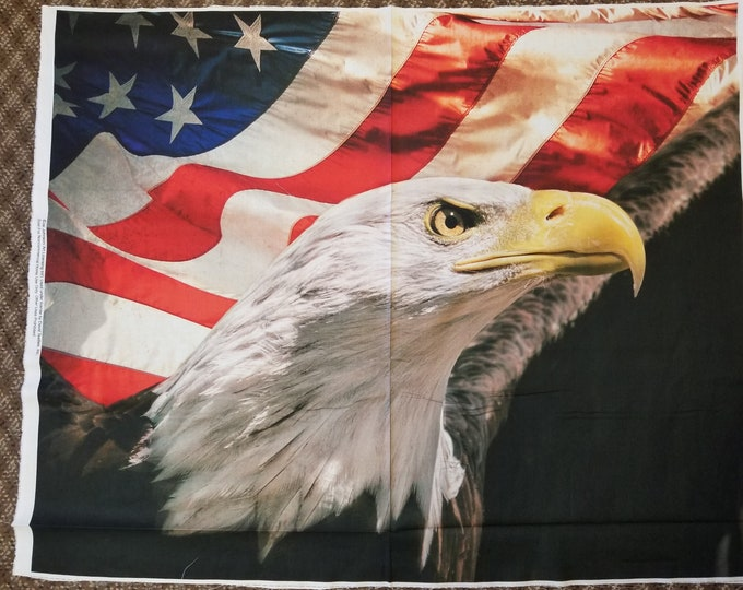 Eagle and the Flag Quilt Panel, Patriotic American Eagle & Flag Fabric Panel