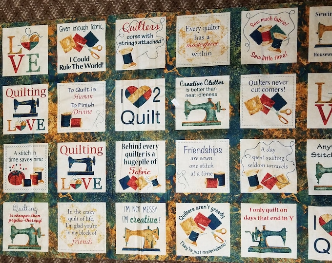 Quilt Sayings Panel, I Love Too Quilt Panel, Fabric Panel, Sewing Machine Panel