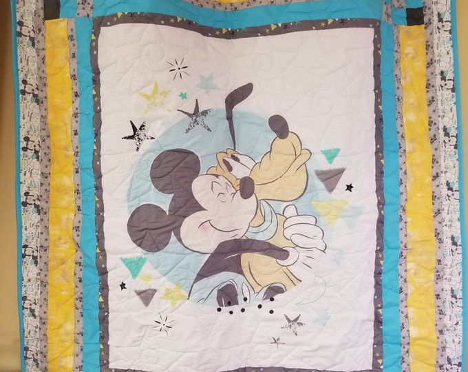 Handmade Mickey Mouse and Pluto Quilt, Homemade Beautiful Quilted Wall Hanging, Throw, or Lap Quilt