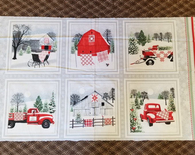 Antique Truck Quilt Panel, Christmas Tree and Wreath Truck Fabric Panel