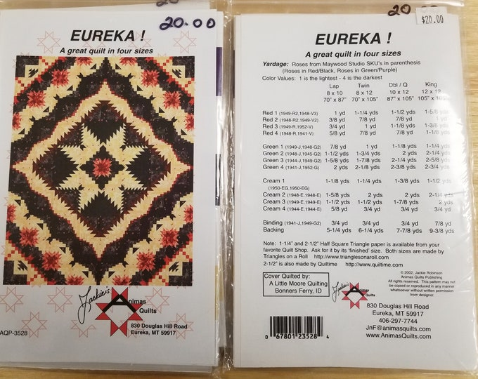 Eureka Quilt Pattern, Star Sprinkles Quilt Pattern, Price Reduction 25% off Sale