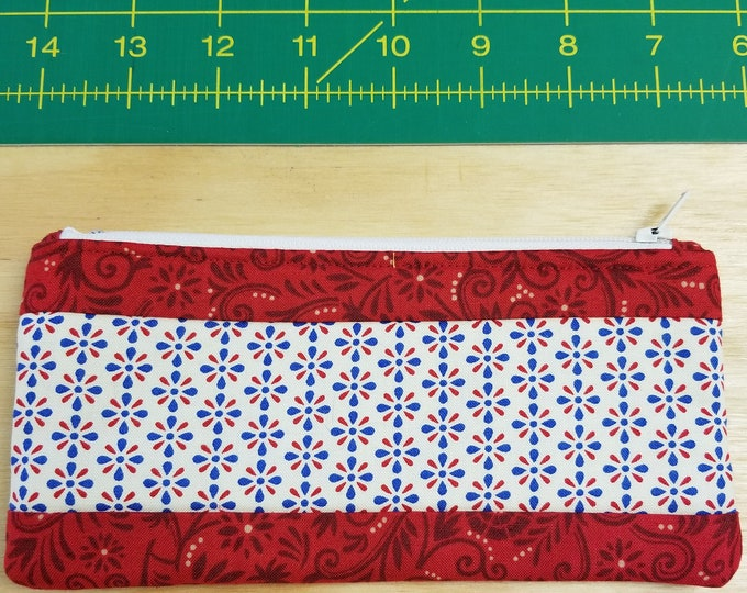 Red, White and Blue Change Purse, Zippered Purse,