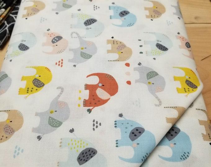 Elephant Quilt Fabric, Colorful Elephant Fabric
