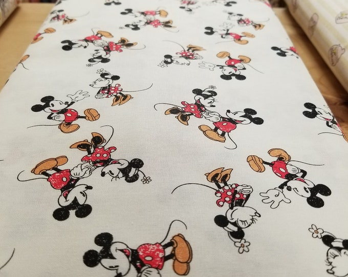 Mickey and Minnie Mouse Quilt Fabric, Disney Fabric