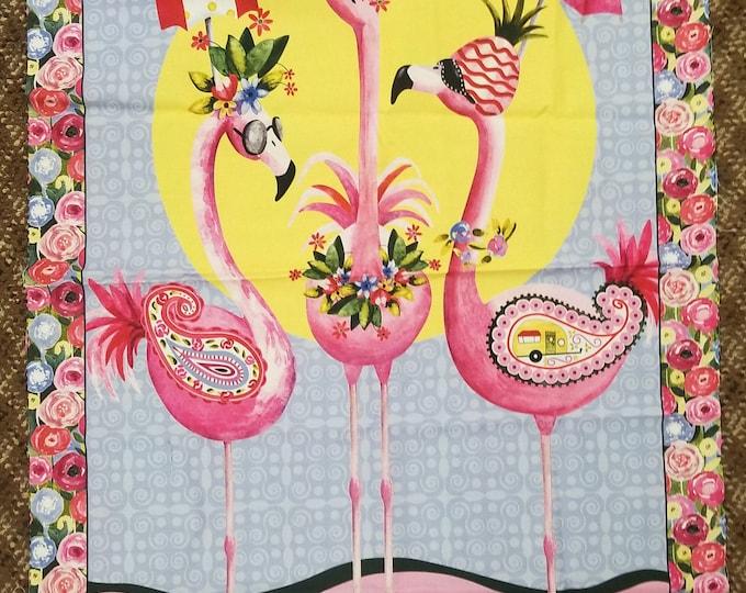 Pink Flamingo Fabric Panel, Flamingos at the Beach Panel