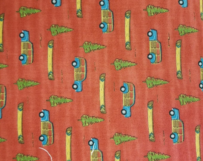 Camping Car and Canoe Quilt Fabric, Boat and Car Fabric