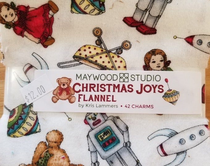 Christmas Joys Flannel Charm Pack, Christmas Squares, Flannel Charms