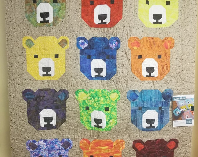 "Bjorn the Bear Quilt, Beautiful, Bear Quilt, 49"" x 60"""