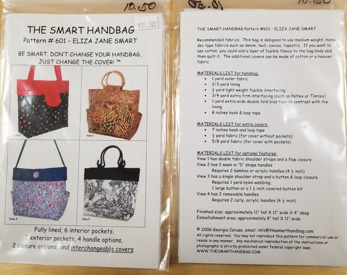 Handbag Patterns, The Smart Handbag, Versatile Wave Interchangeable Purse Pattern, Price Reduction 25% off Sale