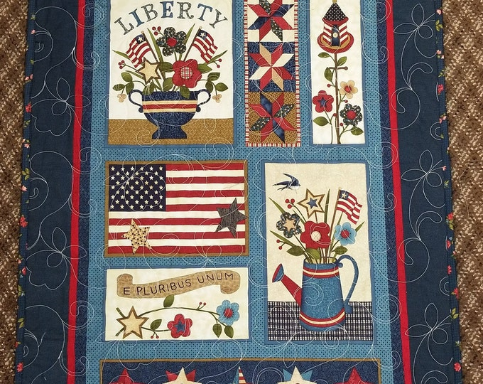 Handmade Liberty Quilt, Homemade Beautiful Quilted Wall Hanging, Throw, or Lap Quilt