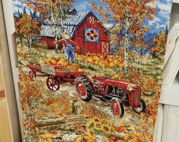 Rustic Farm Tractor Fabric Panel, Fall Farm Quilt Panel