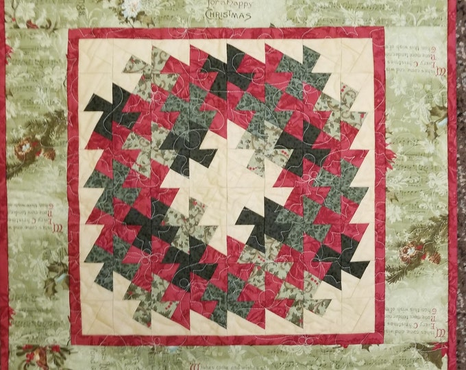 """Homemade Christmas Wreath Quilted Wall Hanging, Handmade Wreath Decoration, 20"""" x 20"""""""