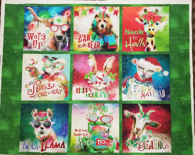 Christmas Animal Puns Quilt Panel, Happy Holiday Colorful Fabric Panel