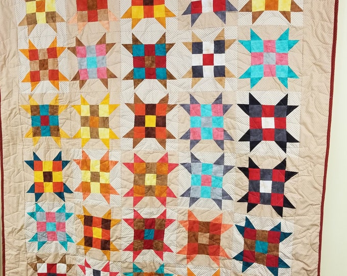 Handmade Nine Patch Star Quilt, Homemade Beautiful Quilted Wall Hanging, Throw, or Lap Quilt