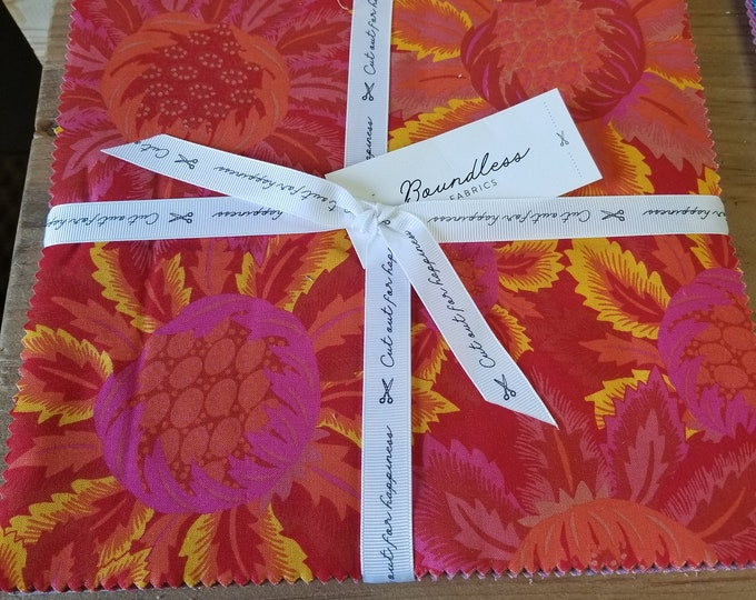 """Vibrant Floral Boundless Layer Cake, 10"""" Cut Out for Happiness Pre-Cut Squares"""