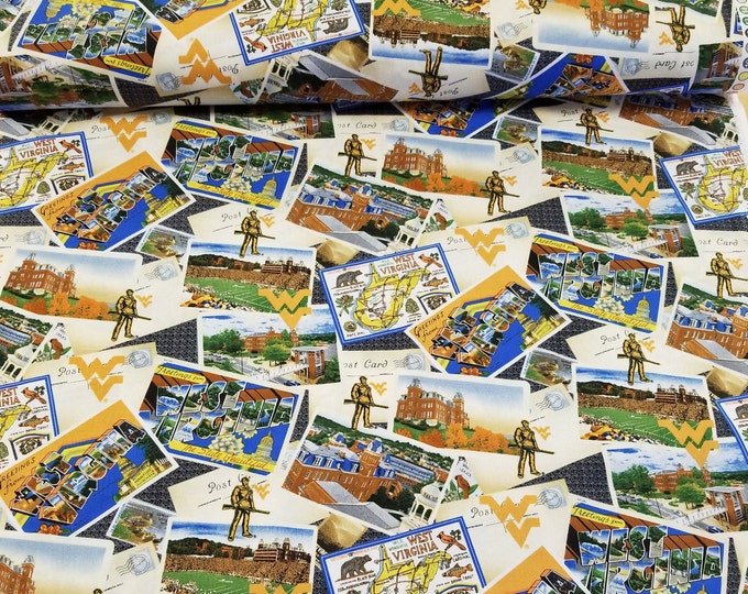 WVU Themed Quilt Fabric, West Virginia University Fabric