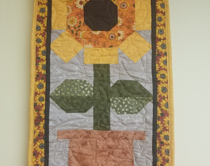 "Sunflower Table Runner, Quilted Table Runner, 16"" x 32"""