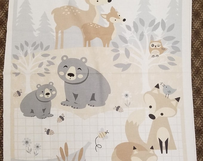 Little Critters Fabric Panel, Cute Woodland Animals Quilt Panel
