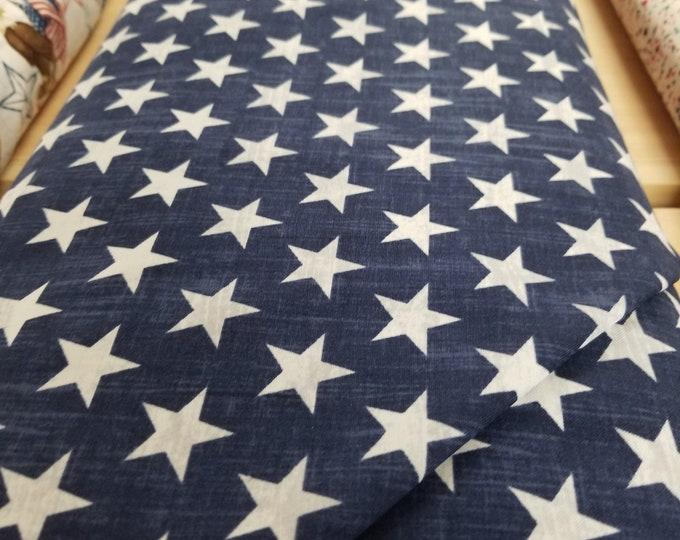 Blue & White Star Quilt Fabric, USA Flag fabric, Live Free, Pride and Honor