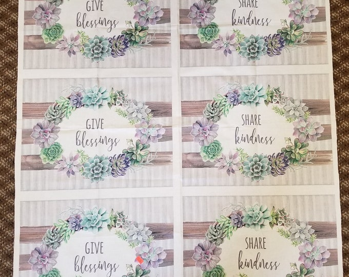 Blessings and Kindness Fabric Panel, Placemat Panel
