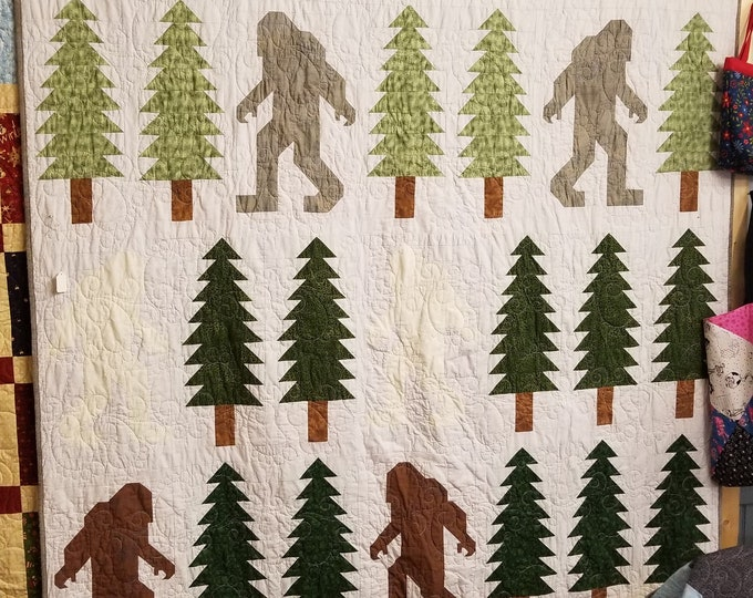 Handmade Sasquatch Quilt, Homemade Bigfoot Twin Sized Quilt, Quilt for Sale