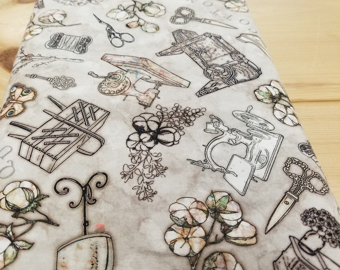 Antique Sewing Machines Quilt Fabric, Cotton Couture Fabric