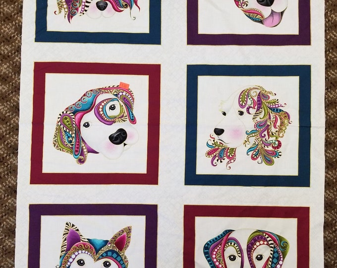Dog On It Fabric Panel, Dog or Puppy Quilt Panel