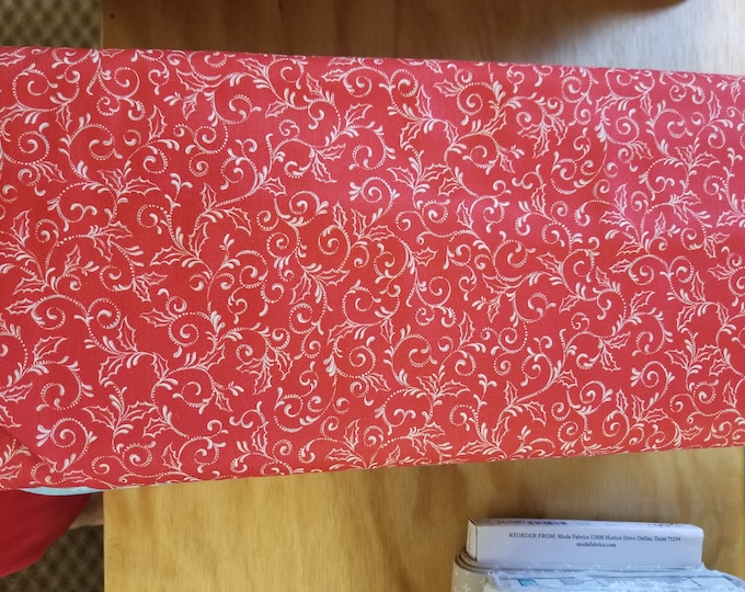 Christmas Red Holly Scroll Quilt Fabric,  Wintertime Fabric