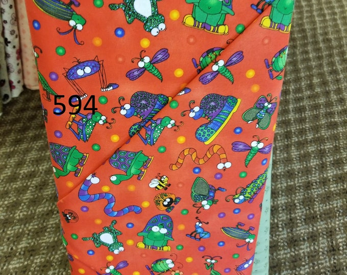 Kids Themed Novelty Quilt Fabric, Cut to order fabric, Bugs, Butterflies, Balloons, Birds  593-613