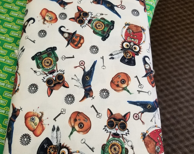 Steampunk Halloween Quilt Fabric,  Steampunk Crows, Pumpkins, and Owls Fabric