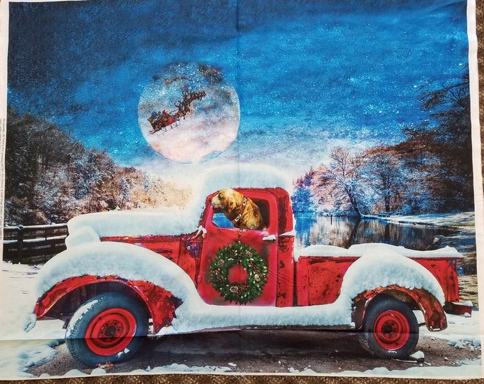 Antique Truck and Dog Quilt Panel, Santa and Christmas Truck Fabric Panel