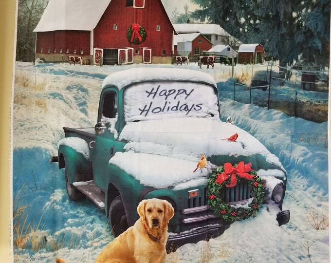 Antique Truck and Dog Quilt Panel,Christmas Puppy Truck Fabric Panel