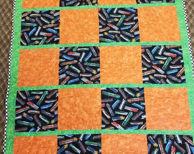 "Handmade Train Quilt, Homemade Beautiful Quilted Wall Hanging, Throw, or Lap Quilt, 52"" x 44"""