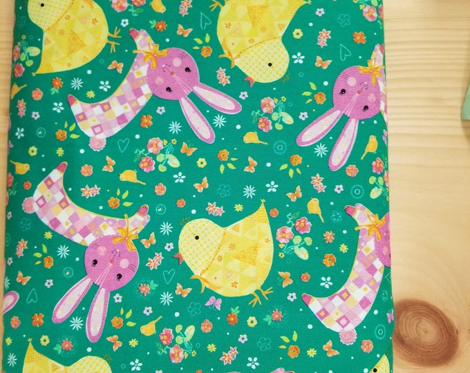Buuny and Chick Quilt Fabric,  Easter Chicken and Rabbit Fabric