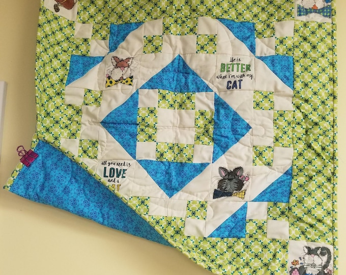 "Handmade Cat/Kitten Quilt, Homemade Beautiful Quilted Wall Hanging, 26"" x 26"""